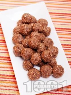 Свежи какаови бонбони с фурми, стафиди, овесени ядки и орехи - снимка на рецептата